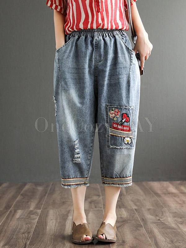 Original Applique Fringed Denim Capri-Pants
