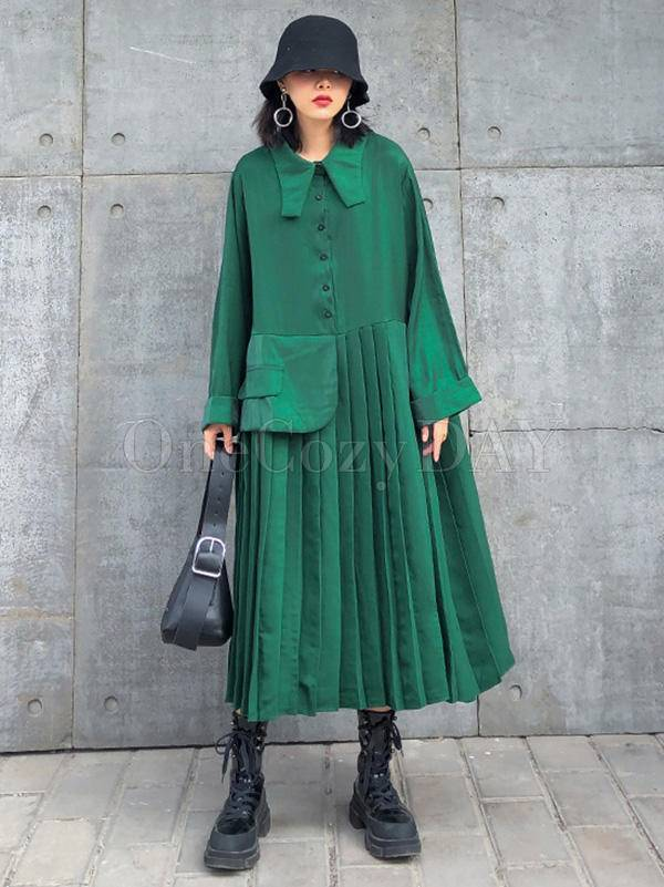 Solid Color Loose Pleated A-Line Dress