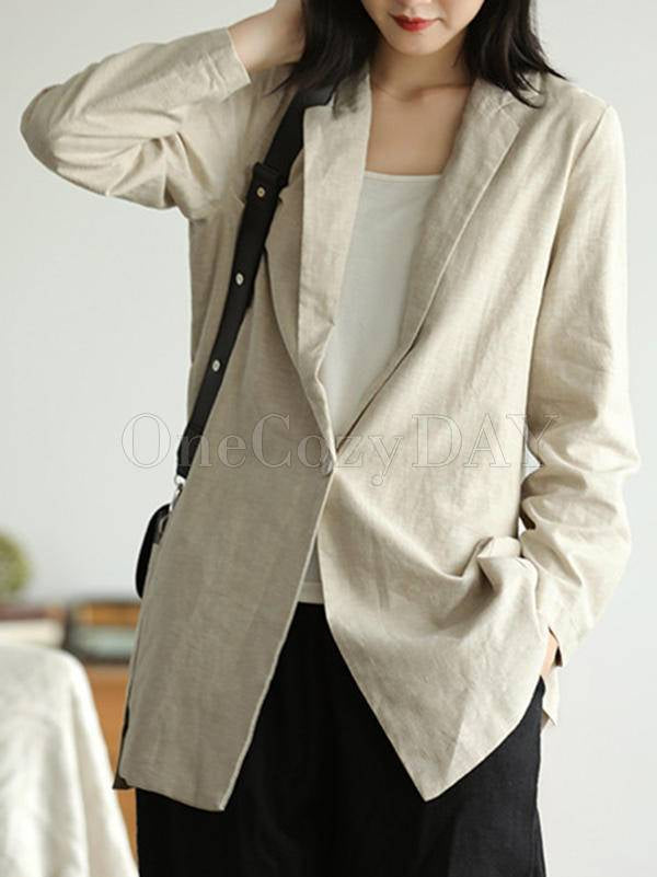 Vintage Solid Color Lapel Suit Outwear