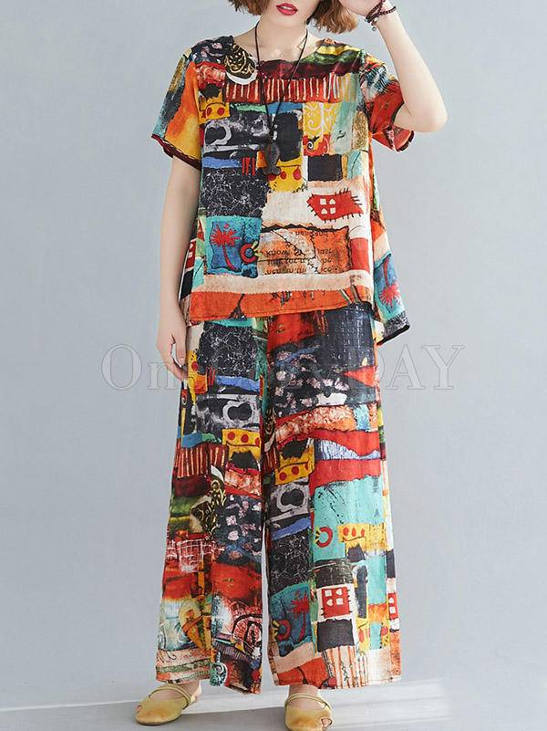Two-Pieces Loose Printed T-Shirt And Pants Suit
