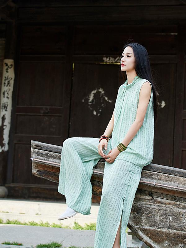 Green Split-side Ramie Cotton Casual Pants