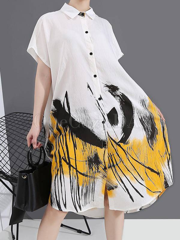 Loose Ink Print Button Shirt Midi Dress