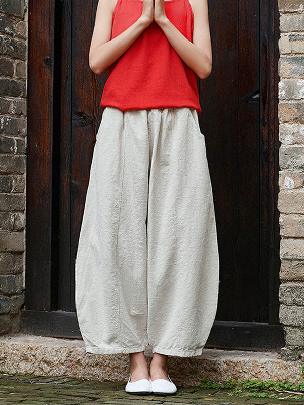 Loose  Ramie Cotton Wide-leg Pants