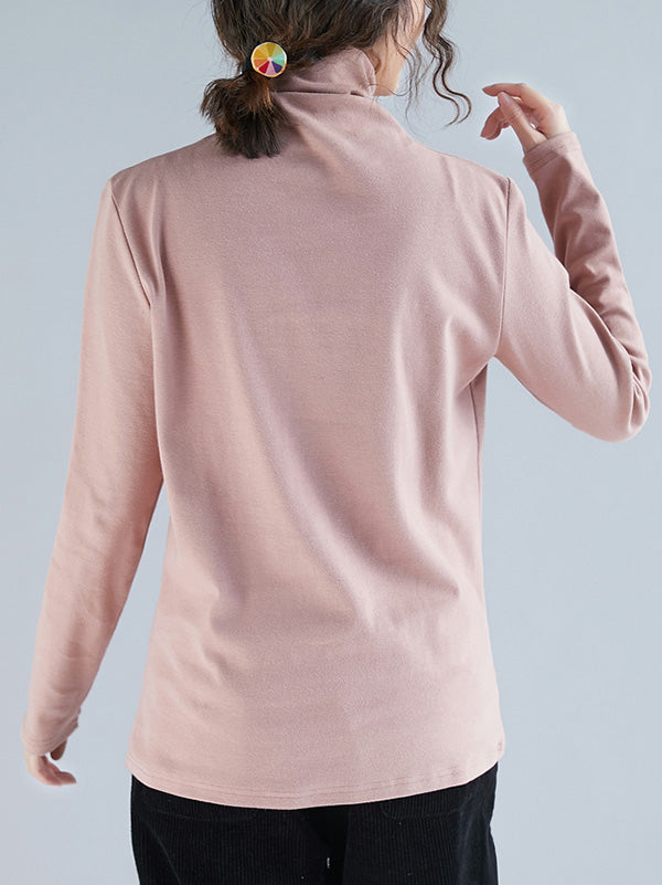 Solid Thickening Long-Sleeved Turtleneck T-Shirt
