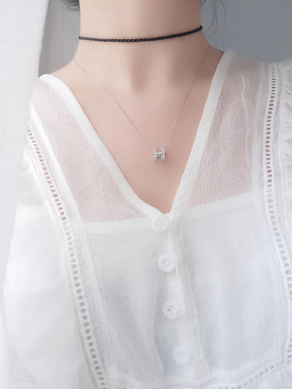 Simple Silver H Necklace
