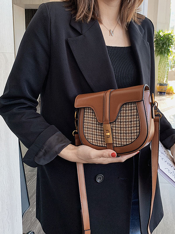 Chic Plaid Split-Joint Small Bags