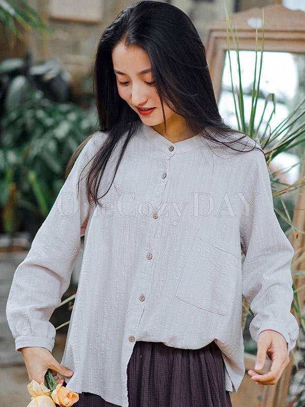 Solid Loose Pleated Stand Collar Shirt