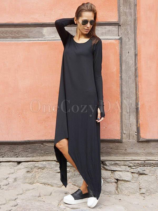 Asymmetric Simple Black Round-Neck Long Sleeves Dress