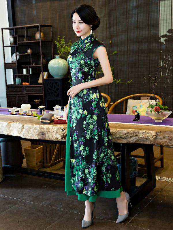 Green Stand Collar Split-side Ao Dai Cheongsam