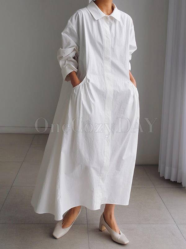 Urban White Lapel Long Shirt Dress