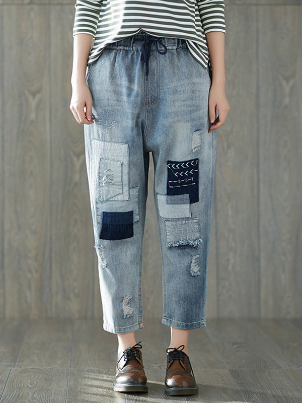 Casual Retro Split-Joint Hole Jean Pants