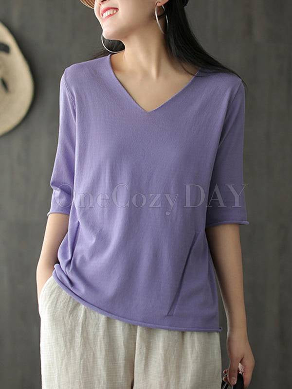 Vintage Solid Knitting V-Neck T-Shirt