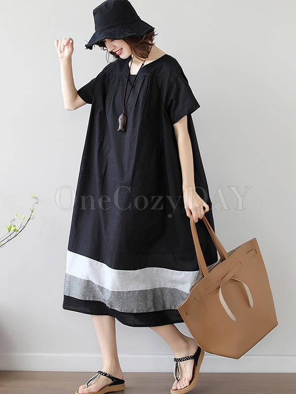 Loose Splicing Square-Collar Midi Dress