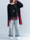 Loose Oversize Split-joint Plaid Sweatshirt