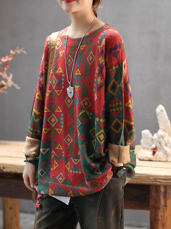 Loose Vintage Colorblock Printed Round Neck Sweater