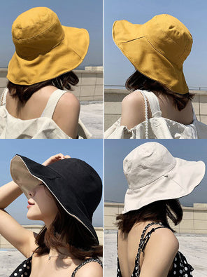 Solid Sunscreen Two-sided Fisherman Hats