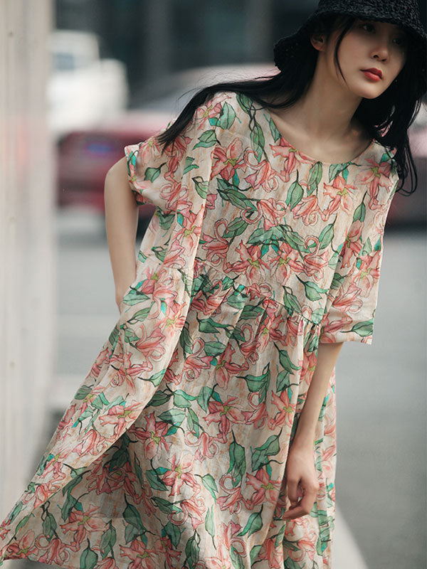 Vintage Floral Printed Pleated Short Dress
