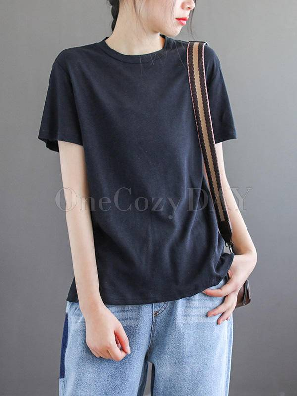 Vintage Solid Round Neck T-Shirt