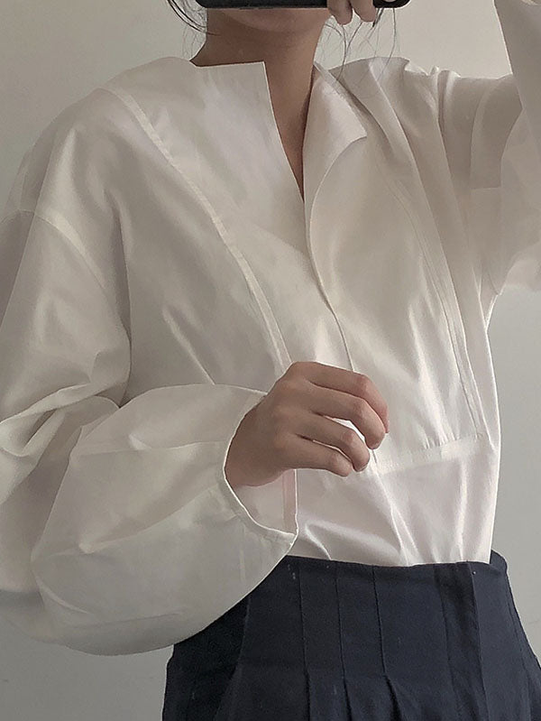 Simple Retro Loose White Shirt