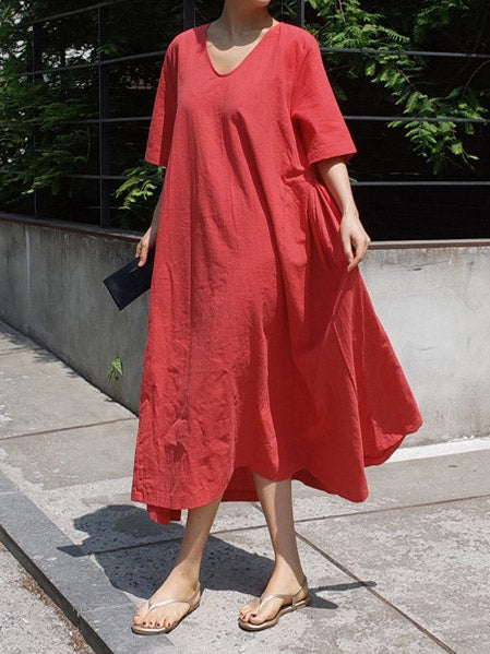Red&Gray Short Sleeves Round-neck Long Dress