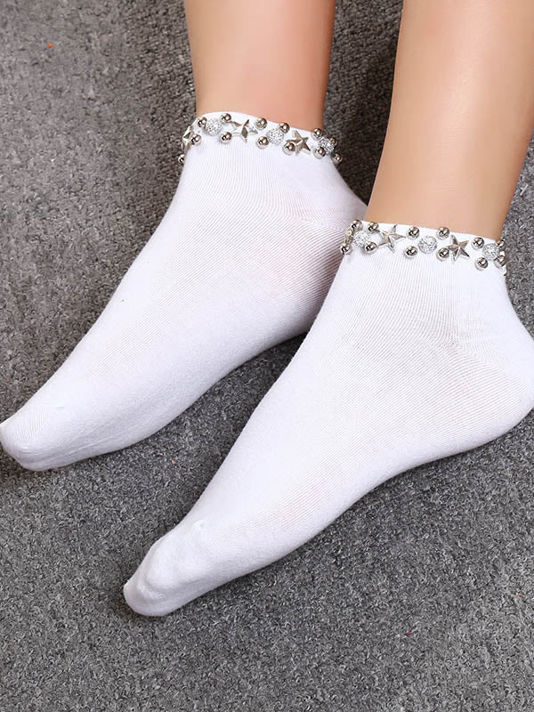 Casual Solid Rivet Ankle Sock