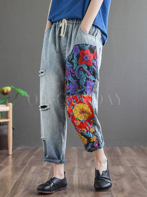Vintage Hollow Splicing Embroidered Harem Pants