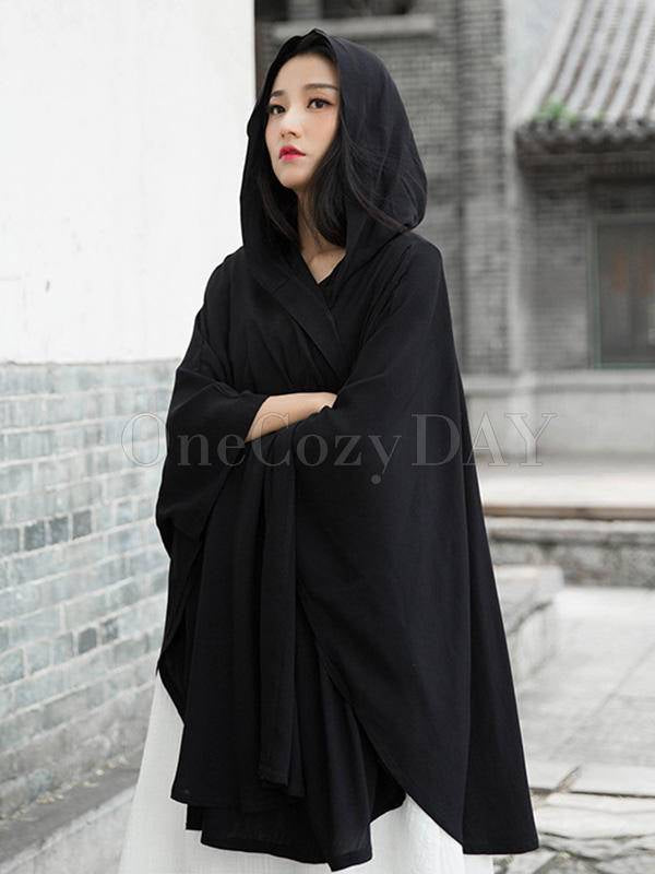 Simple Solid Loose Batwing Sleeve Hood Cape
