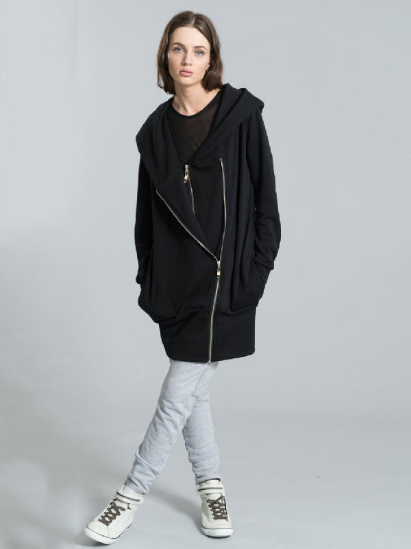 Asymmetric Zipper With-hat Black Outwear