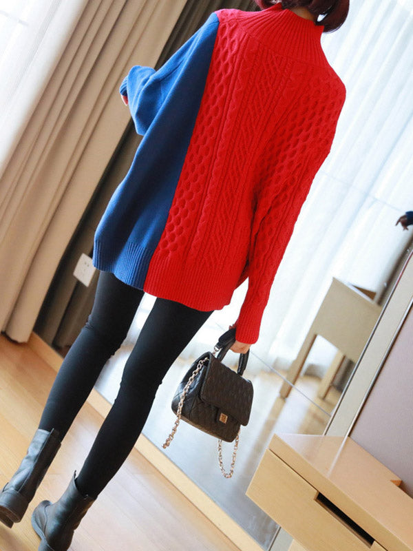 Loose Split-Joint Color Knitting Sweater