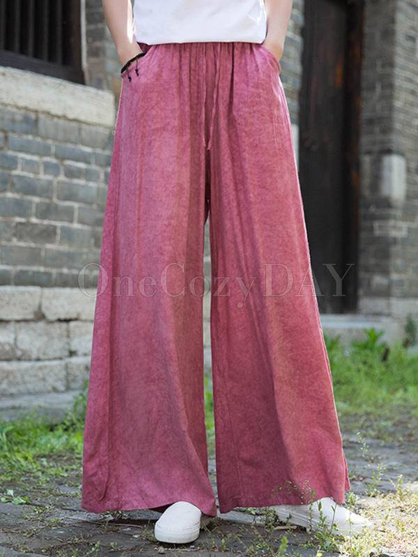 Casual Comfortable Solid Wide-Leg Pants