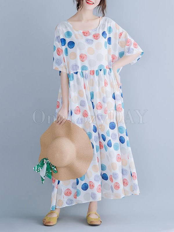 Loose Colorful Polka-Dot Casual Dress