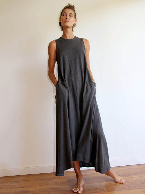 Simple Solid Sleeveless Round-neck Long Dress