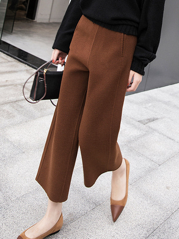 Thickening Woolen Wide Leg Ninth Pants