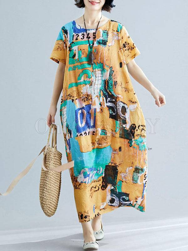 Original Printed Round-Neck Dress