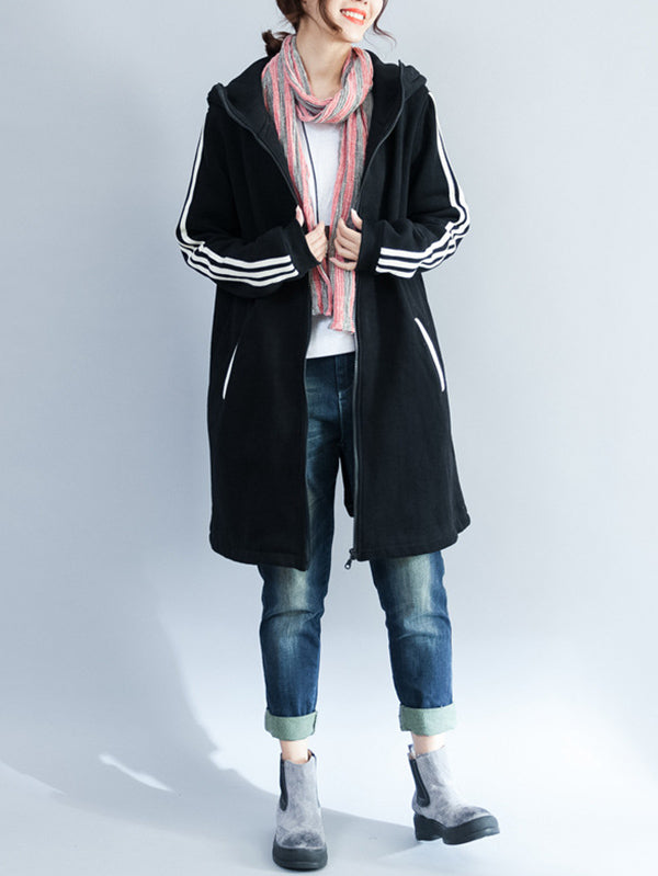 Loose Zipper Stripes Hoodie Long Coat