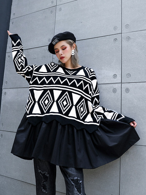 Rhombic False Two Pleated Stitching Kintting Sweater