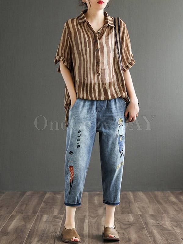 Original Cartoon Printed Denim Capri-Pants