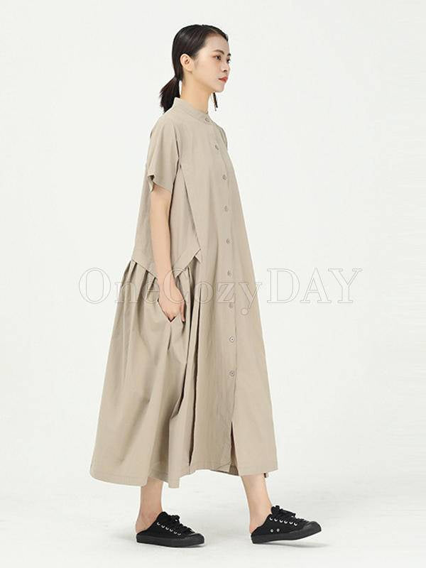 Loose Split-Joint Solid Cropped Long Dress