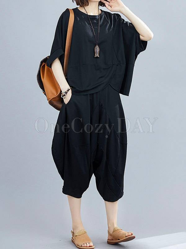 Loose Comfortable Batwing Top+Cropped Trousers Suits
