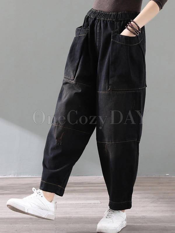 Loose Vintage Splicing Jean Wide-Leg Pants