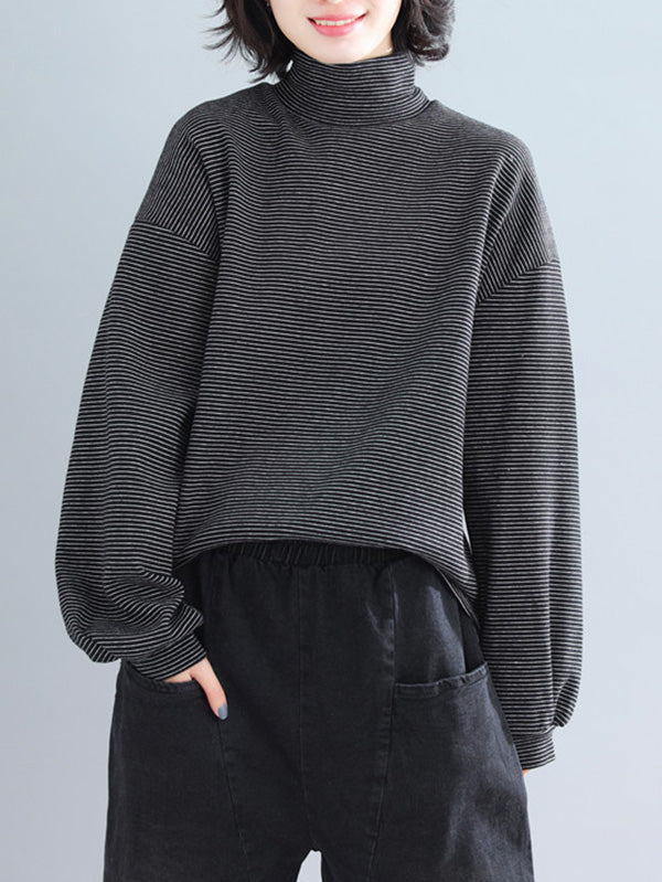 Striped Turtleneck Loose Lantern Sleeves T-Shirts
