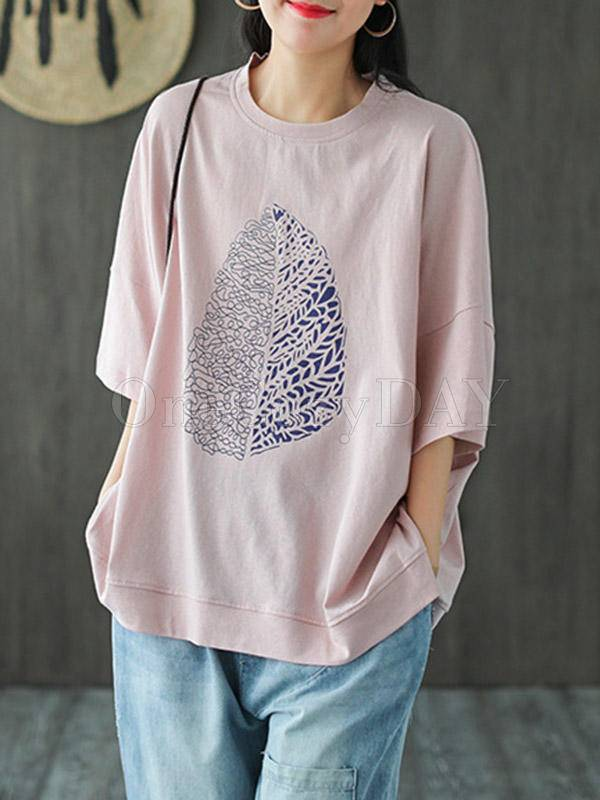 Casual Simple Leaf Printed T-Shirts