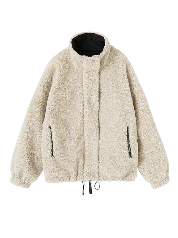 Solid Stand Collar Thickening Cotton Coat
