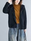 Plain Rhombic Velvet Zipper Hooded Coat