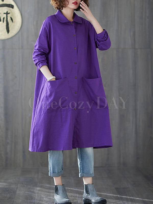 Solid Color Medium Length Lapel Outwear