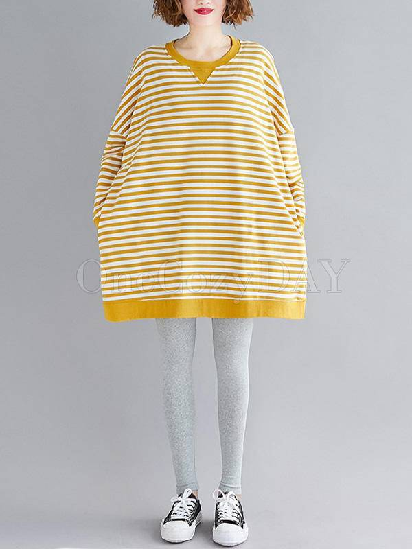 Loose Yellow And White Stripe Sweatshirt Dress