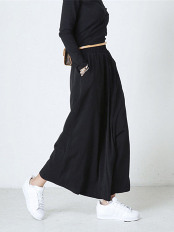 Black Personality Designed Cropped Wide-Leg Pants