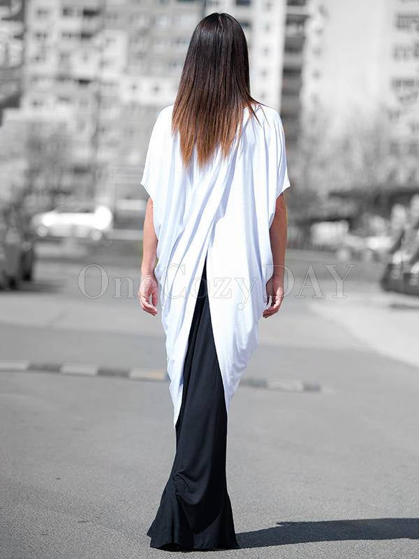 White Cropped Split Joint Batwing Sleeves T-Shirt Tops