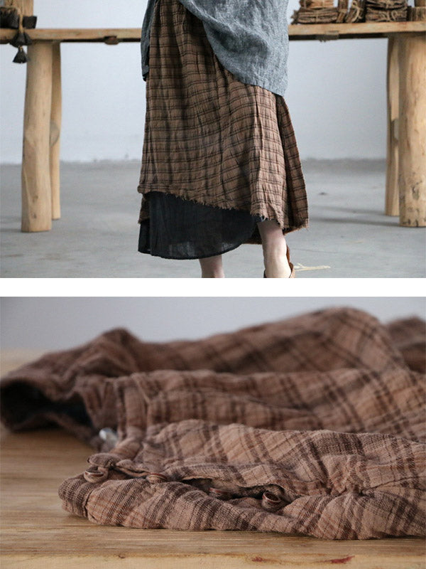 Retro Plaid Double-deck Skirt