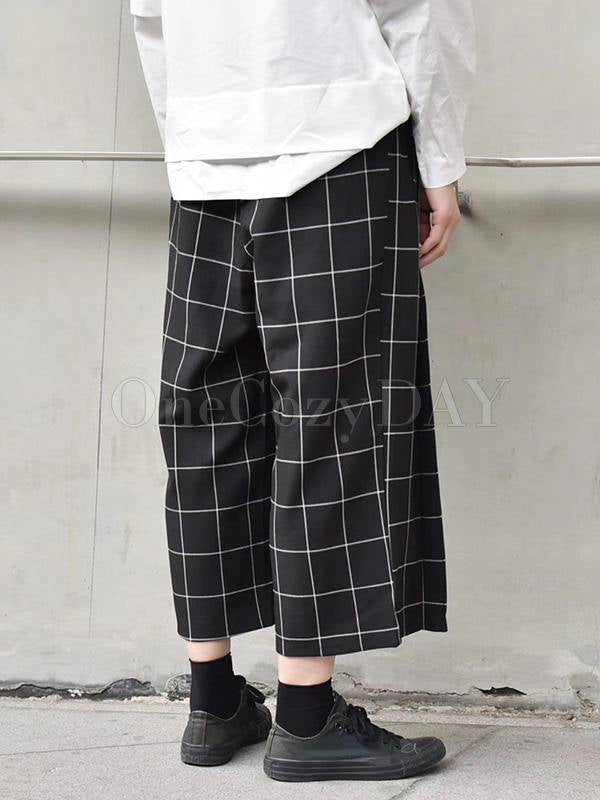 Pleated Plaid Loose Pants